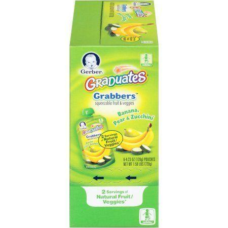 Gerber Graduates Grabbers Squeezable Fruit & Veggies Banana, Pear & Zucchini, 4.23 Ounce, 6 Count