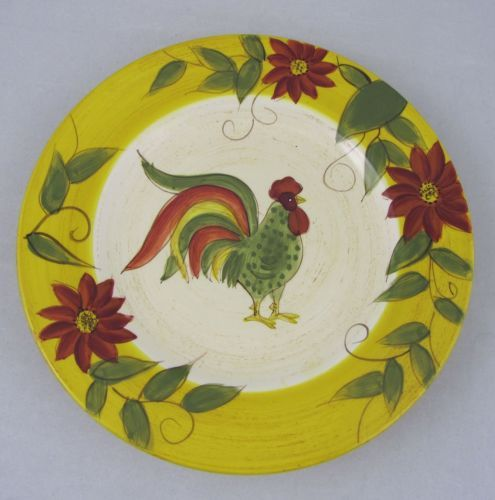 Gates Ware Holiday Rooster Pattern Salad Plate Tan Yellow Laurie Floral Rim | eBay  sc 1 st  Pinterest & Gates Ware Holiday Rooster Pattern Salad Plate Tan Yellow EUC ...