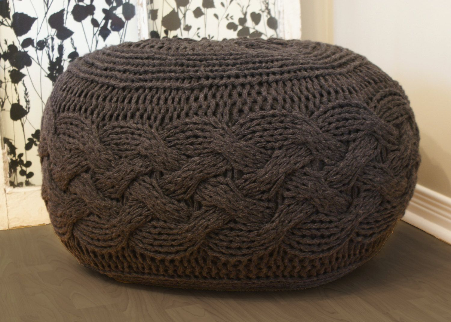DIY Knitting PATTERN - Pouffe / Footstool / Ottoman Super Chunky ...