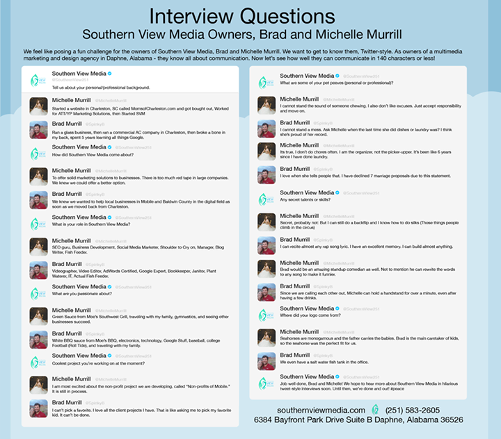 We Asked Our Owners Brad And Michelle Murrill To Answer A Series Of Interview Questions I Interview Questions Internet Marketing Service This Or That Questions
