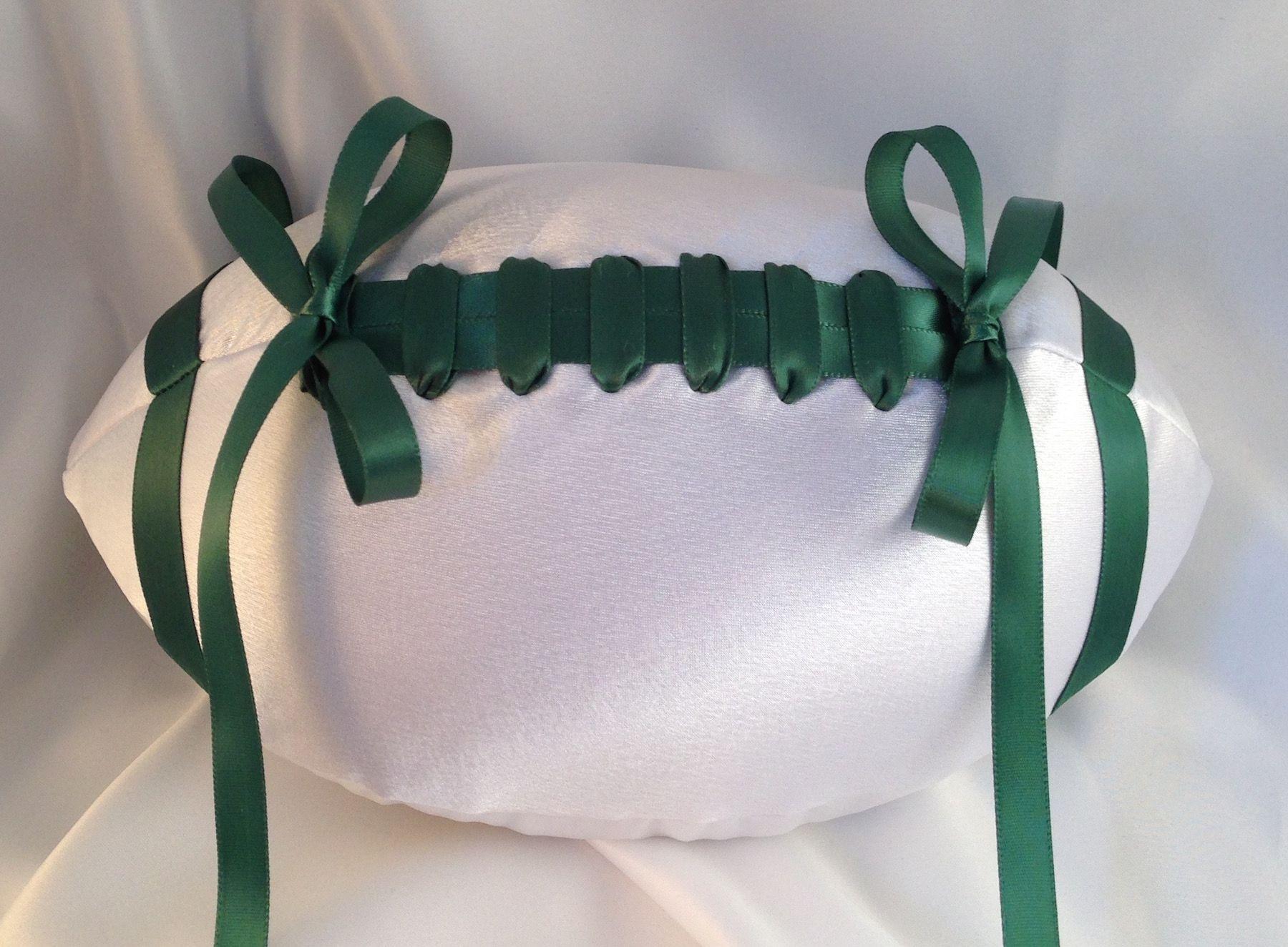 Custom Football Ring Bearer Pillow In White And Green Footballwedding Footballringbearerpillow Footballringpillow
