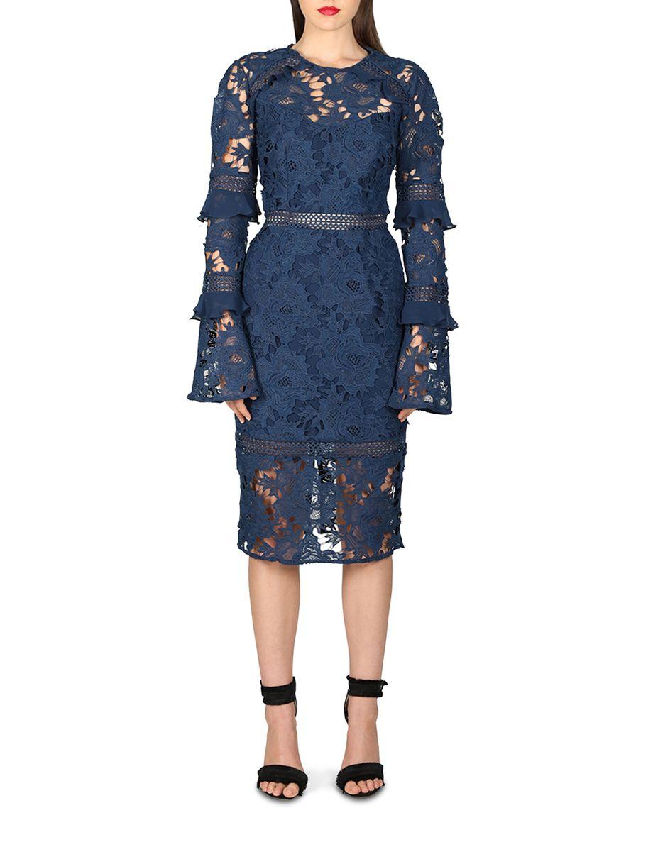Cooper st lustrous lace long sleeve dress 18cs03414