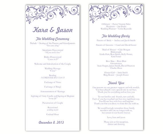 Wedding Program Template DIY Editable Download Purple Program by - program templates word