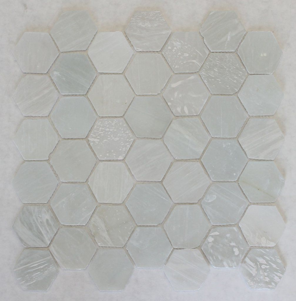 White Beach Gl Recycled Hexagon Mosaic Tile Backsplash Ideas