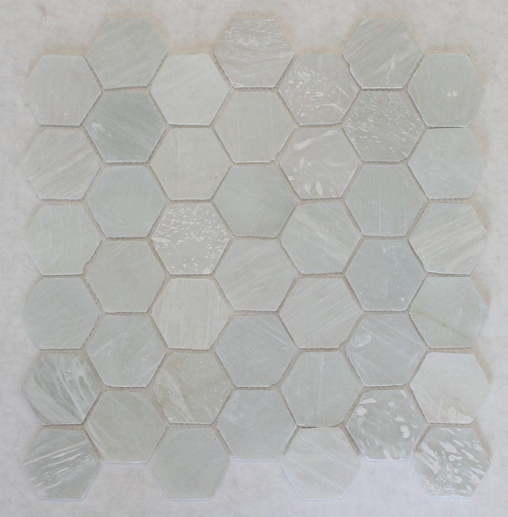 White Beach Glass Recycled Hexagon Mosaic Tile | Häuschen