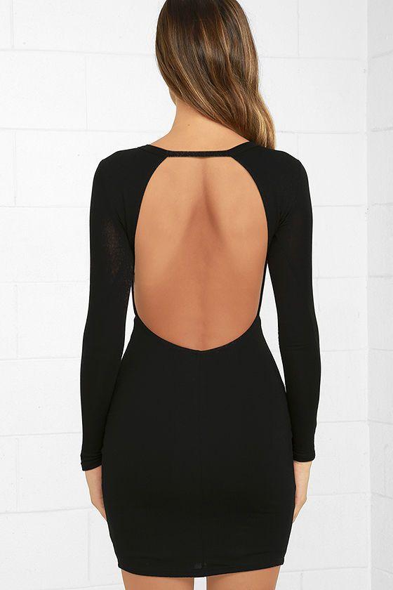 Lulus high hopes black long sleeve bodycon dress