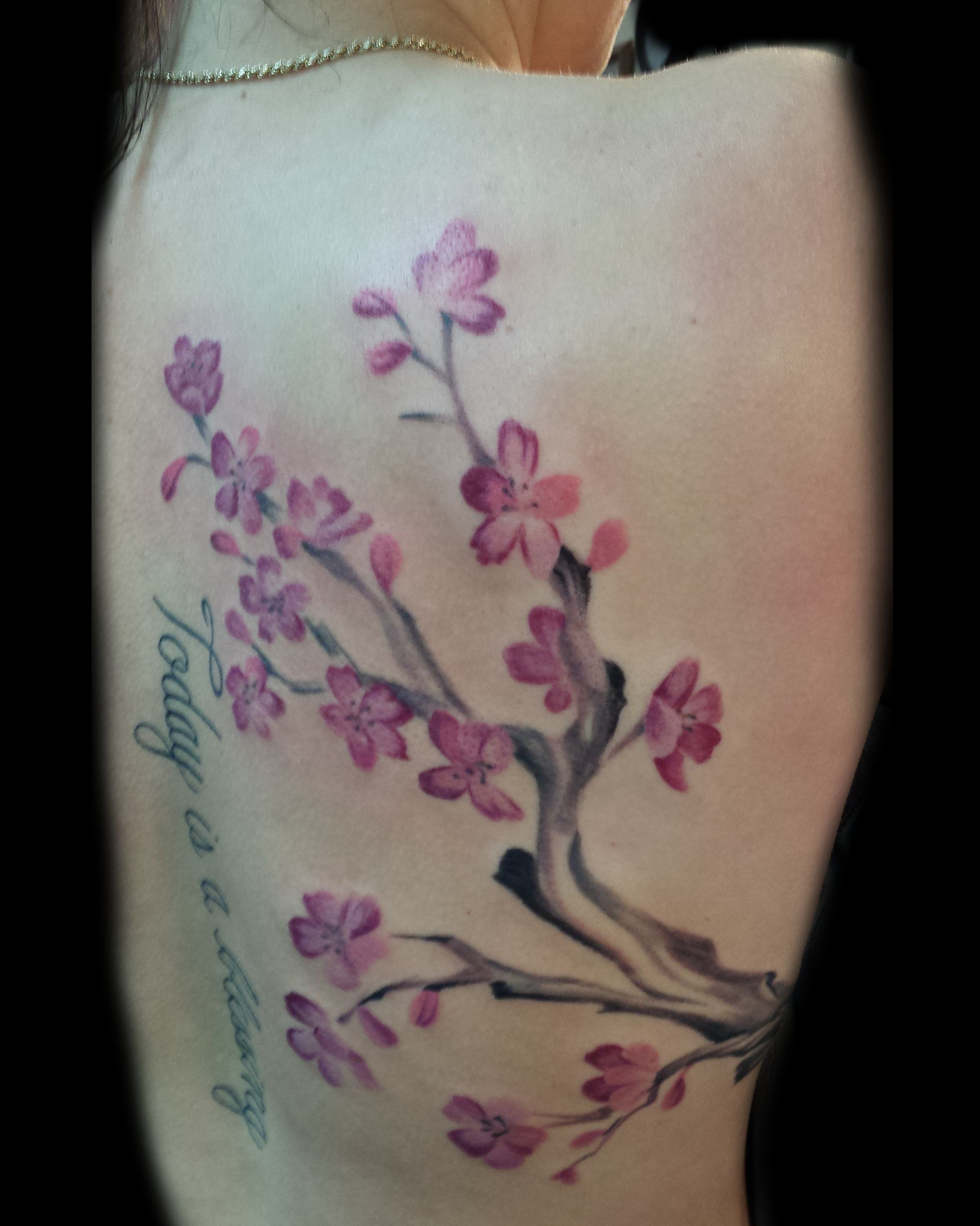 Freddy Payne Free Hand Tattoo Cherry Blossoms Watercolor Tattoo