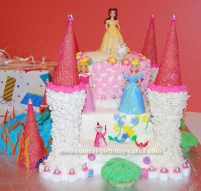 Cool Homemade Disney Princess Castle Cake With Ice Cream Cones
