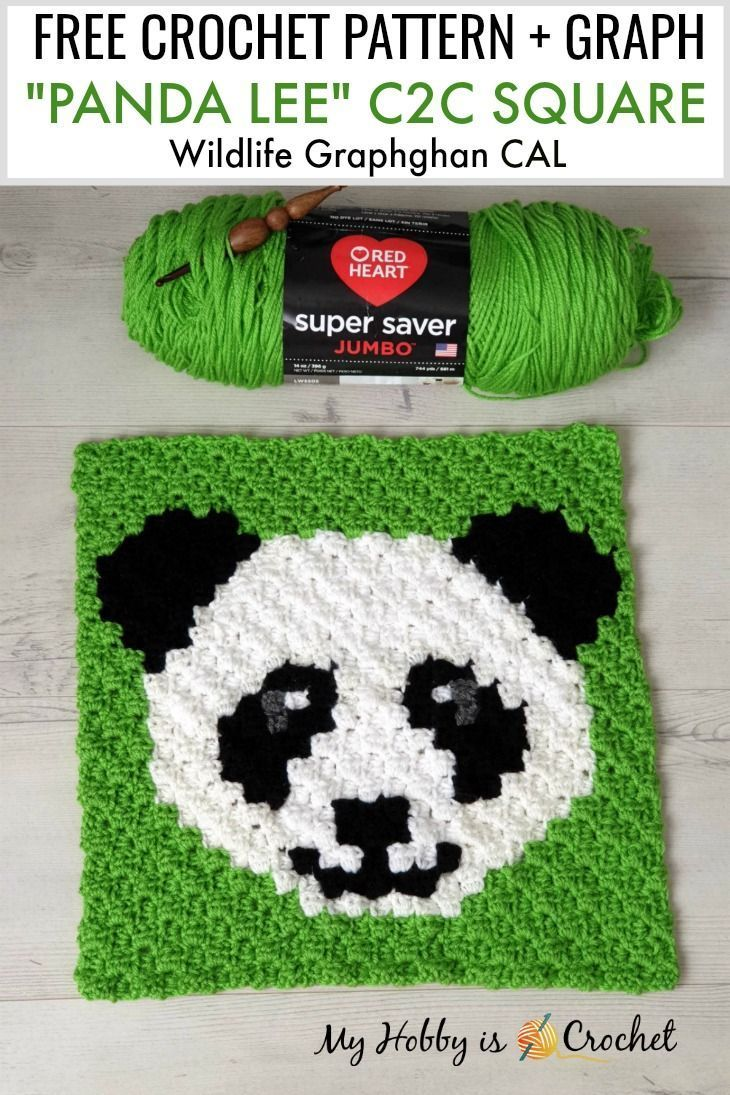 Free Crochet Pattern Panda Lee C2C Square  Wildlife Graphghan CAL Block 3 Free Crochet Pattern Panda Lee C2C Square  Wildlife Graphghan CAL Block 3Clipart Cute Panda Lee...
