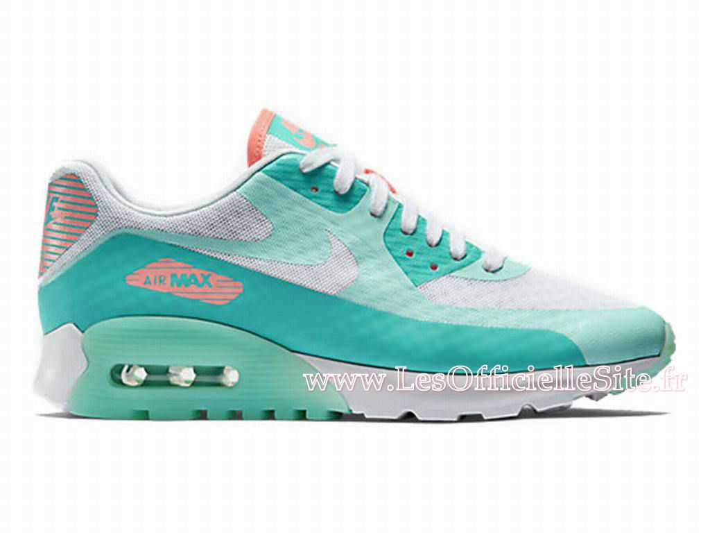 best service 5ac96 09bec Officiel Nike Air Max 90 Ultra Breathe GS Chaussures Nike Sportswear Pas  Cher Pour Femme Blanc Vert