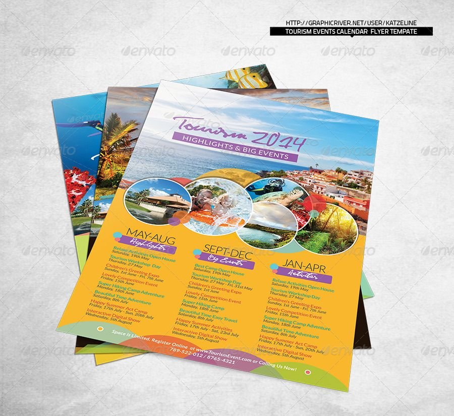 Tourism Events Calendar Flyer Template | Indesign Templates, Event