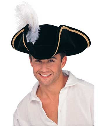 Black Buccaneer Tricorn Hat Adult with a Red Feather for Captain Hook  c60bede75ba7