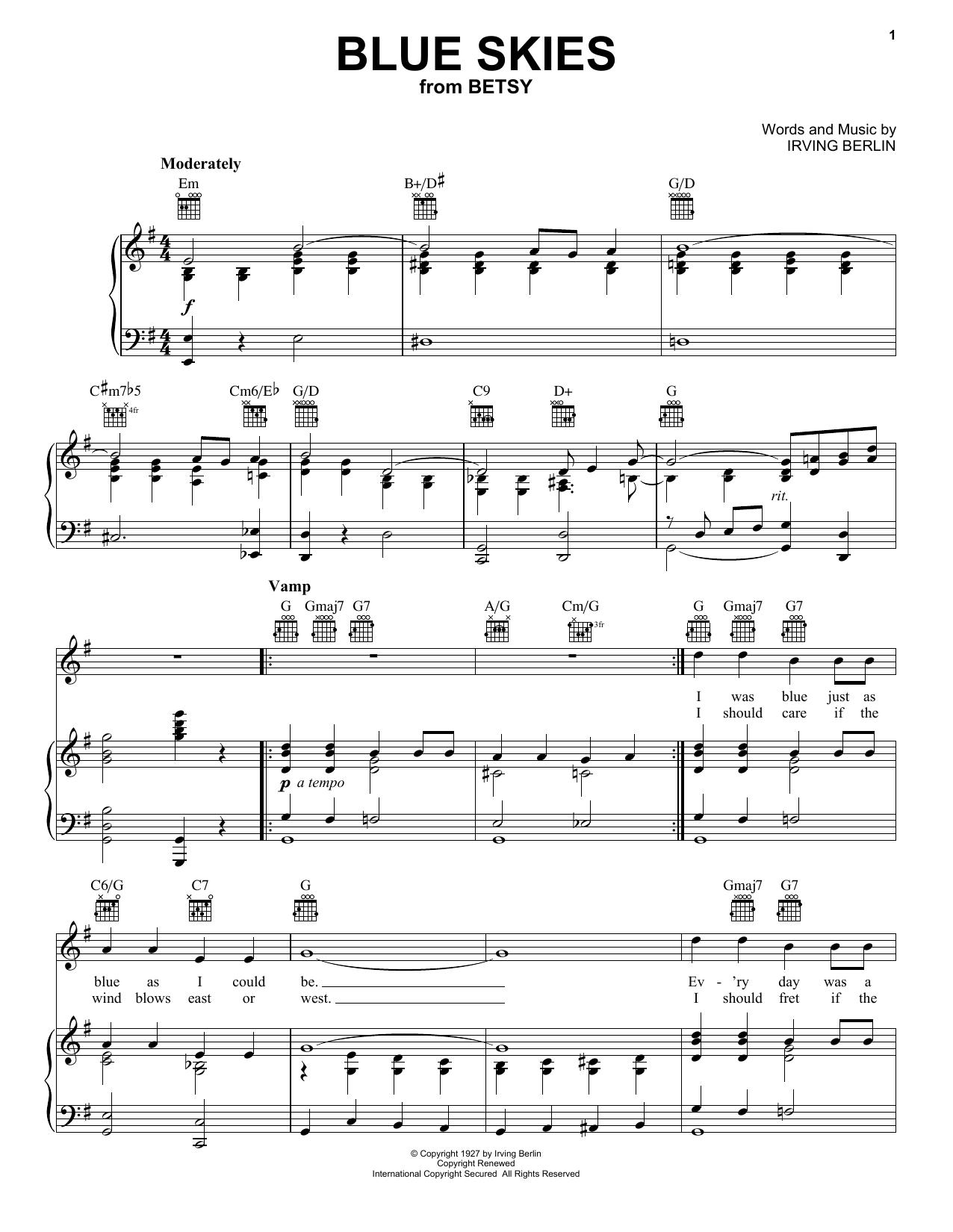 Frank Sinatra Blue Skies Sheet Music Notes Chords