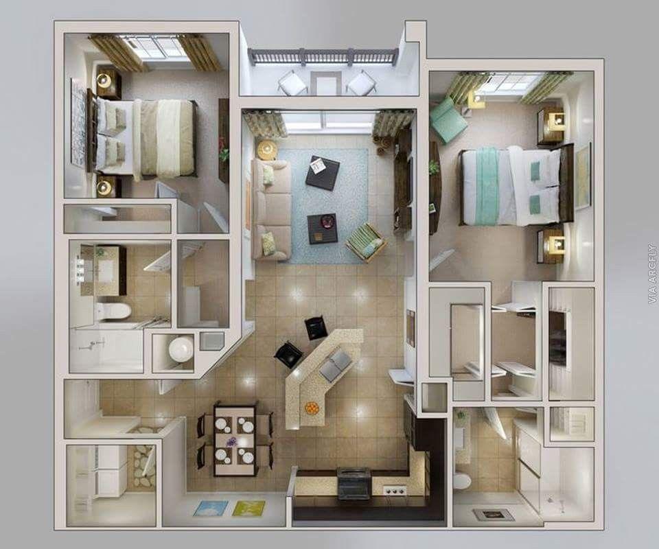 2 Bedroom Apartment Interior Design Pinserhat Musul On 3D Kat Planı  Pinterest