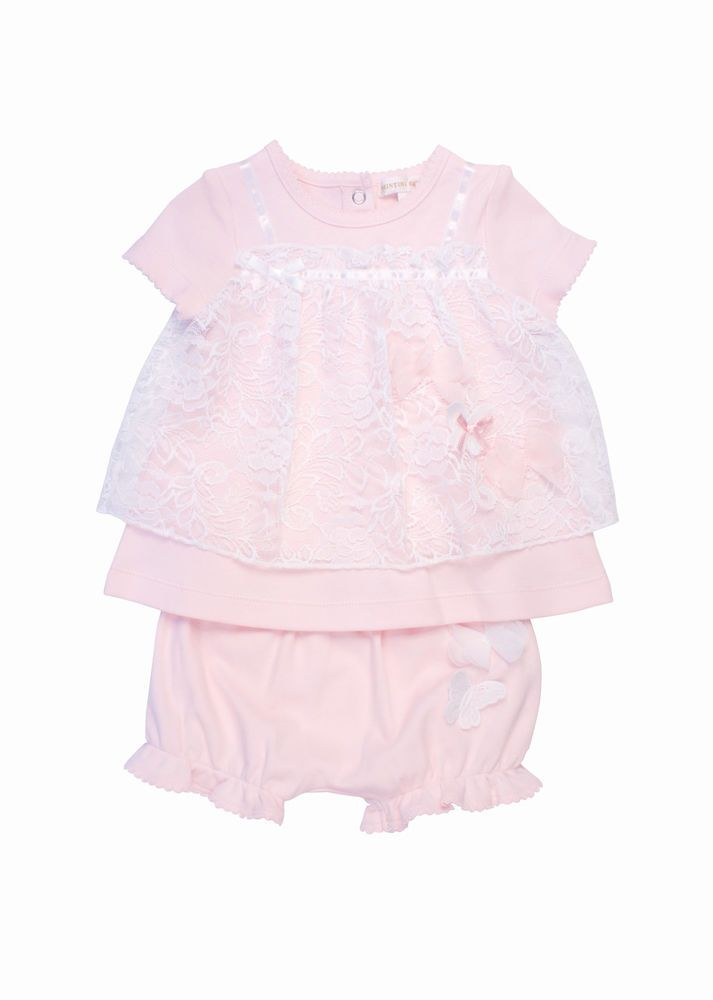 08a5bf31f 💕 MINTINI BABY GIRLS PALE PINK DRESS KNICKERS SET LACE   APPLIQUÉS ...