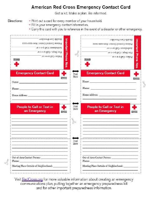 American Red Cross Emergency Contact Card An Emergency Contact Card Should Be Made For All Household Members Contact Card Template Contact Card Card Template