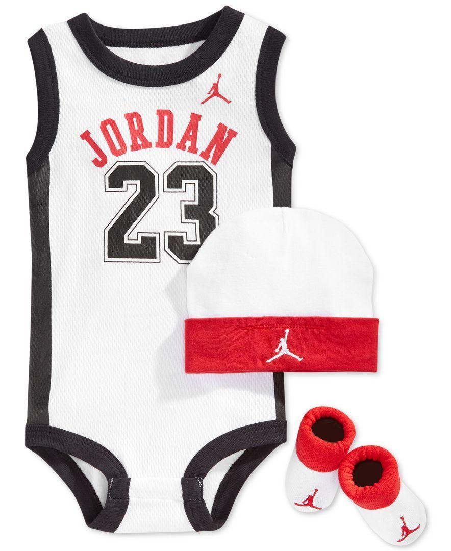 ac2e8bd6df4 Jordan Baby Boys' 3-Piece Jersey, Hat & Booties Set | Baby outfits ...