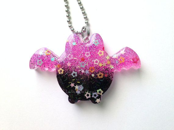 This Chibi Kawaii Bat Resin Pendant is ready to ship! This piece of resin jewelry is handmade by me using epoxy resin with a combination of