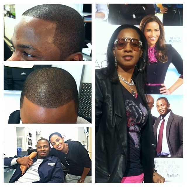 "Getting Derek Luke ready for the movie ""Baggage Claim"""