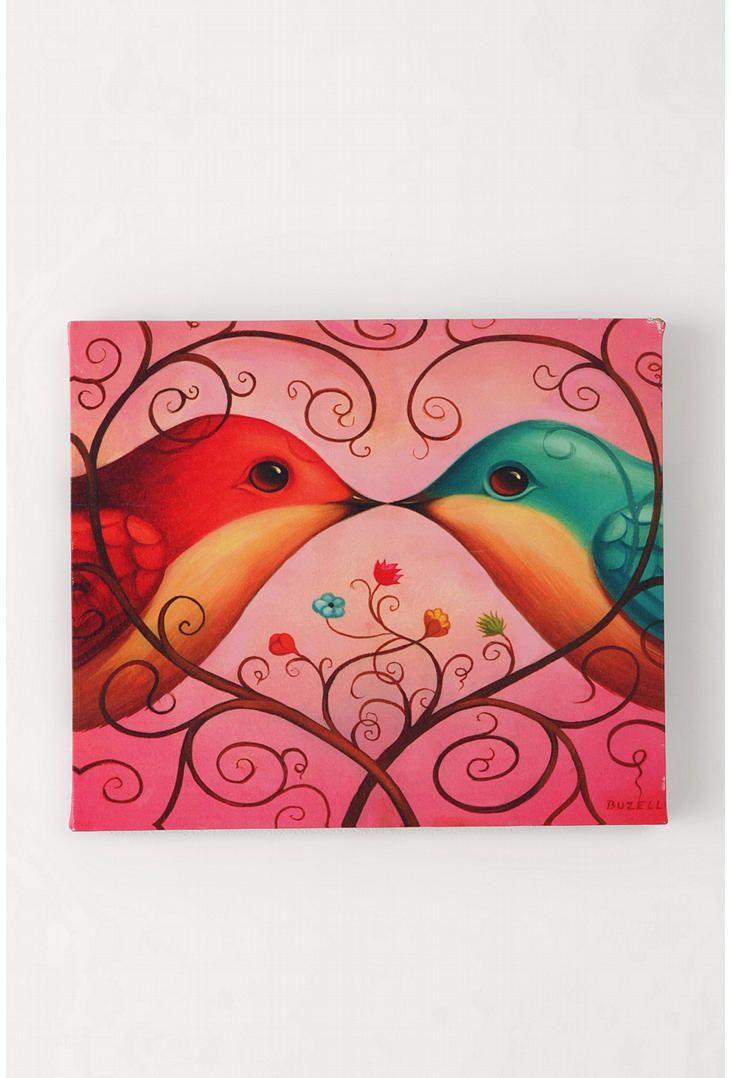 Love Birds Wall Art By Chris Buzelli 14x12 Urban Outfitters Bird Wall Art Lovebirds Art Art