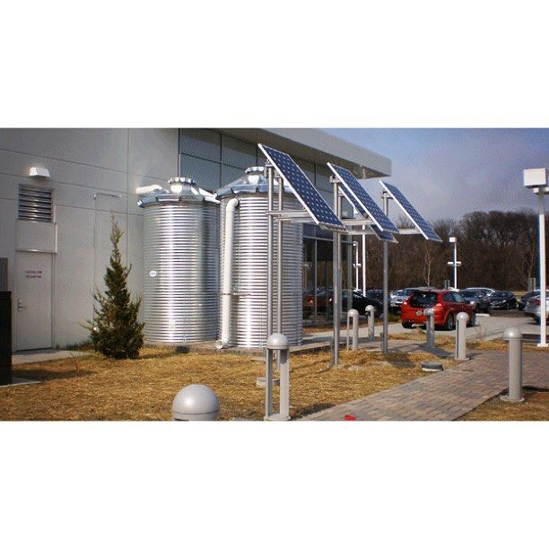 """Wahaso's rainwater harvesting system at Fields Volvo helped make the dealership nearly 100% water sustainable and LEED certified, earning the title of the """"World's Greenest Volvo Dealership."""" The system provides 100% of the dealership's toilet flushing needs as well as nearly all the requirements for landscape irrigation, and saves over a quarter of a million gallons of water per year!  #waterharvesting #rainwaterharvesting #sustainability #greenbuilding #volvo"""