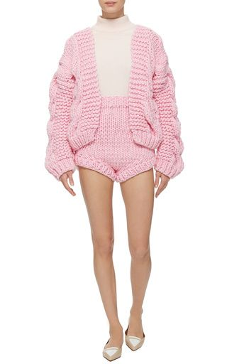 Pink Wool Bomber Chunky Cardigan by I Love Mr. Mittens | Moda Operandi