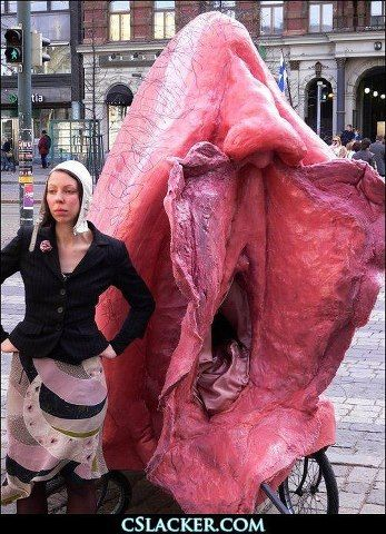 """""""Mimosa Pale, an artist from Finland, invites her fellow citizens to climb into her vagina-themed bike taxi. Her intention is to protest the world's fascination with phallic objects and draw attention to the cunt instead. So three times a week she hits the streets of Helsinki."""" Iheartmycunt.blogspot.com"""