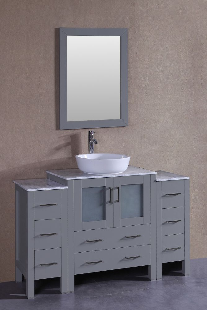 54 Inch W X 18 Inch D Bath Vanity In Gray With Carrara Marble