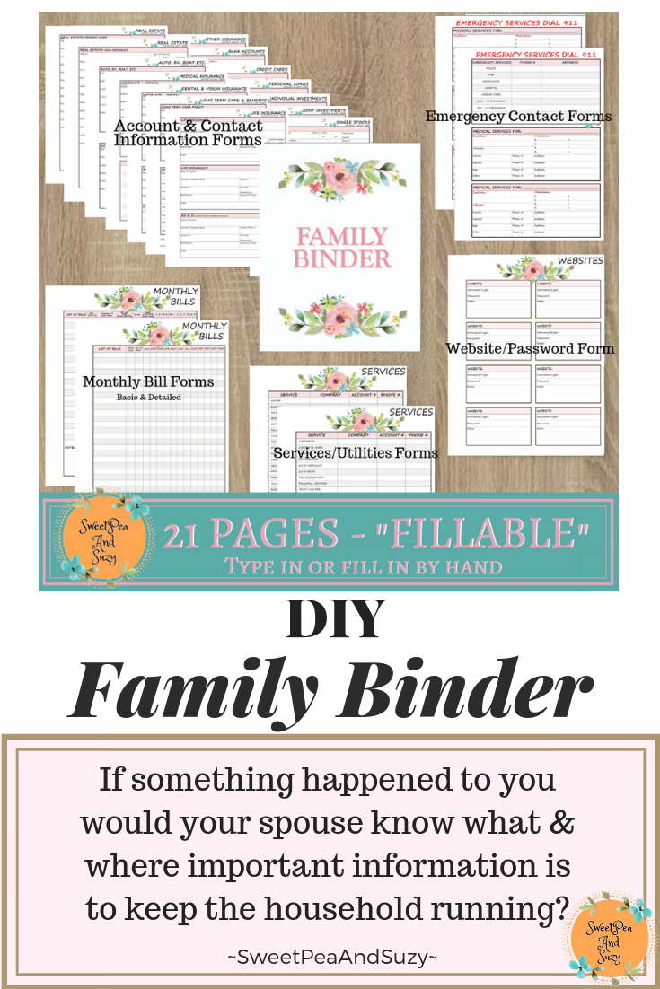 Family Binder Accounts, Monthly Bills, Services