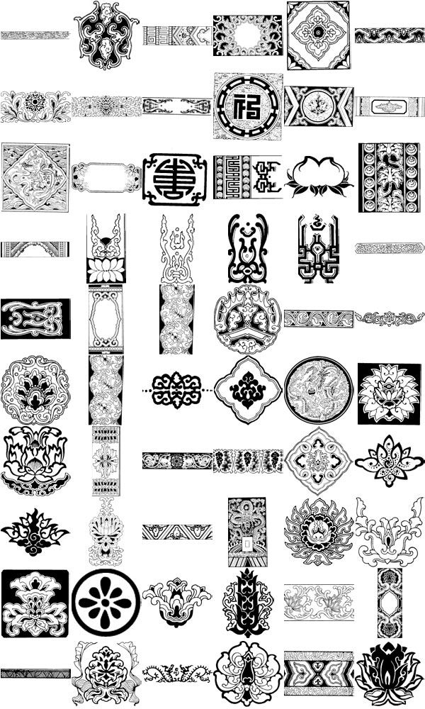 Chinese ornament elements vector Craft DIY supplies