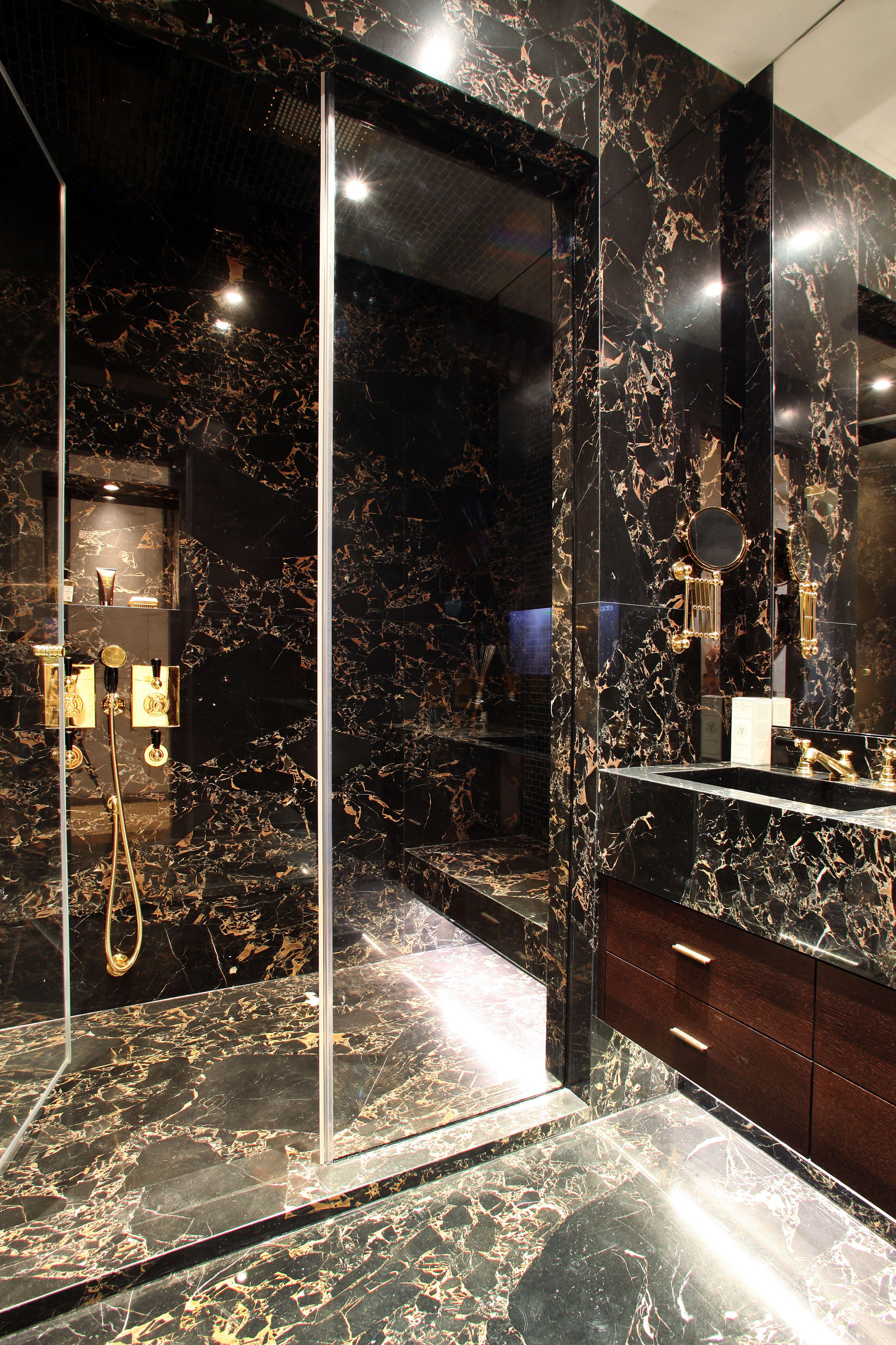 Masculine Bathroom Black Marble Luxury Triple Lateral Apartment