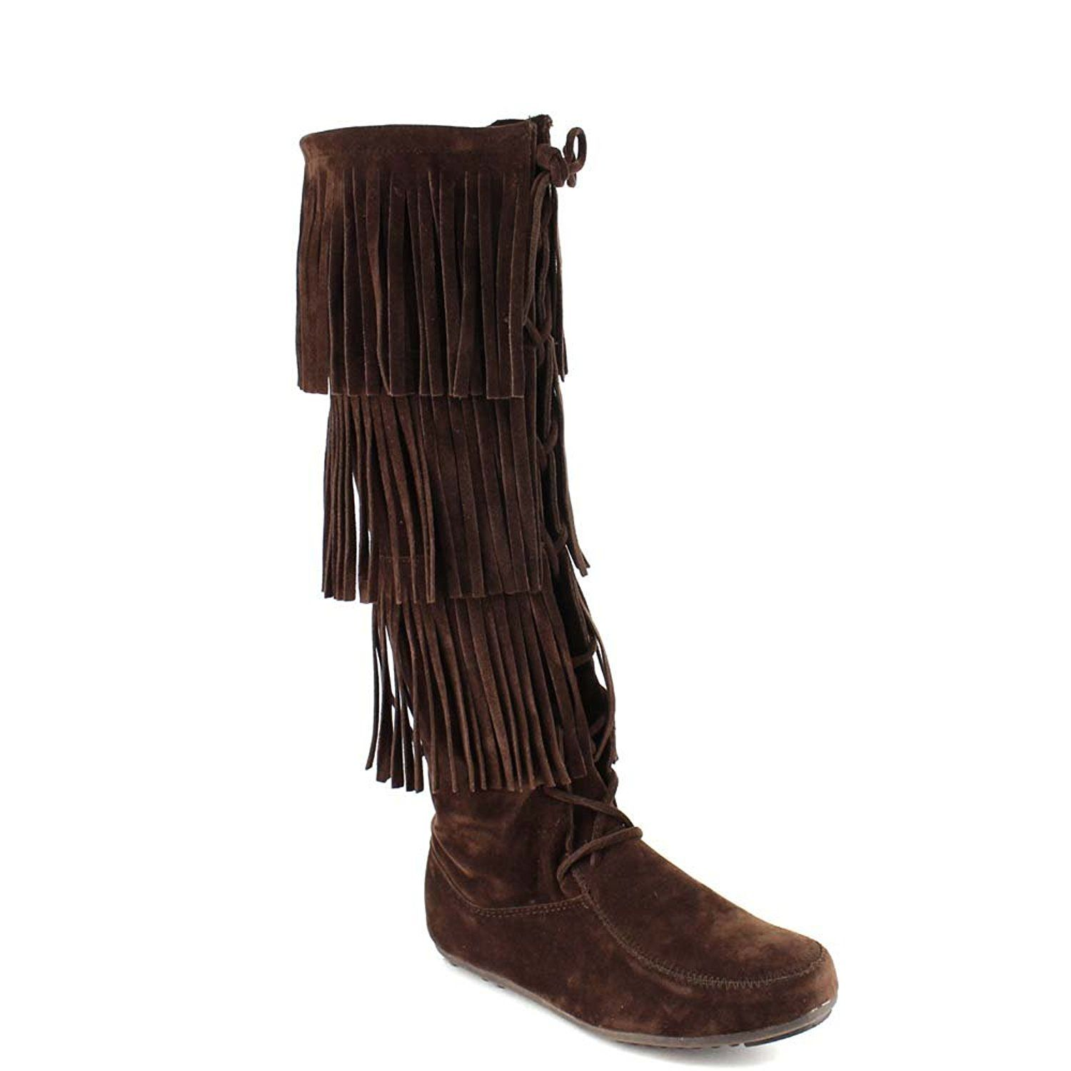 Minnetonka suede leather knee high tall lace up moccasin fringe boots - Forever Few2 Women S Stylish Three Layers Fringe Knee High Moccasin Boots Click Image For