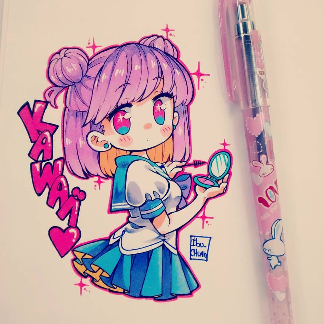 Drawing. Girl. Cute. School uniform Cute drawings, Chibi