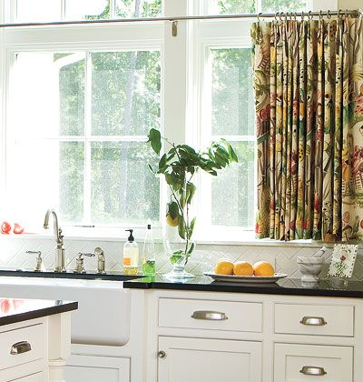 Cafe Curtains In A Colorful Floral Pattern Give This All White Kitchen A  Fresh Look
