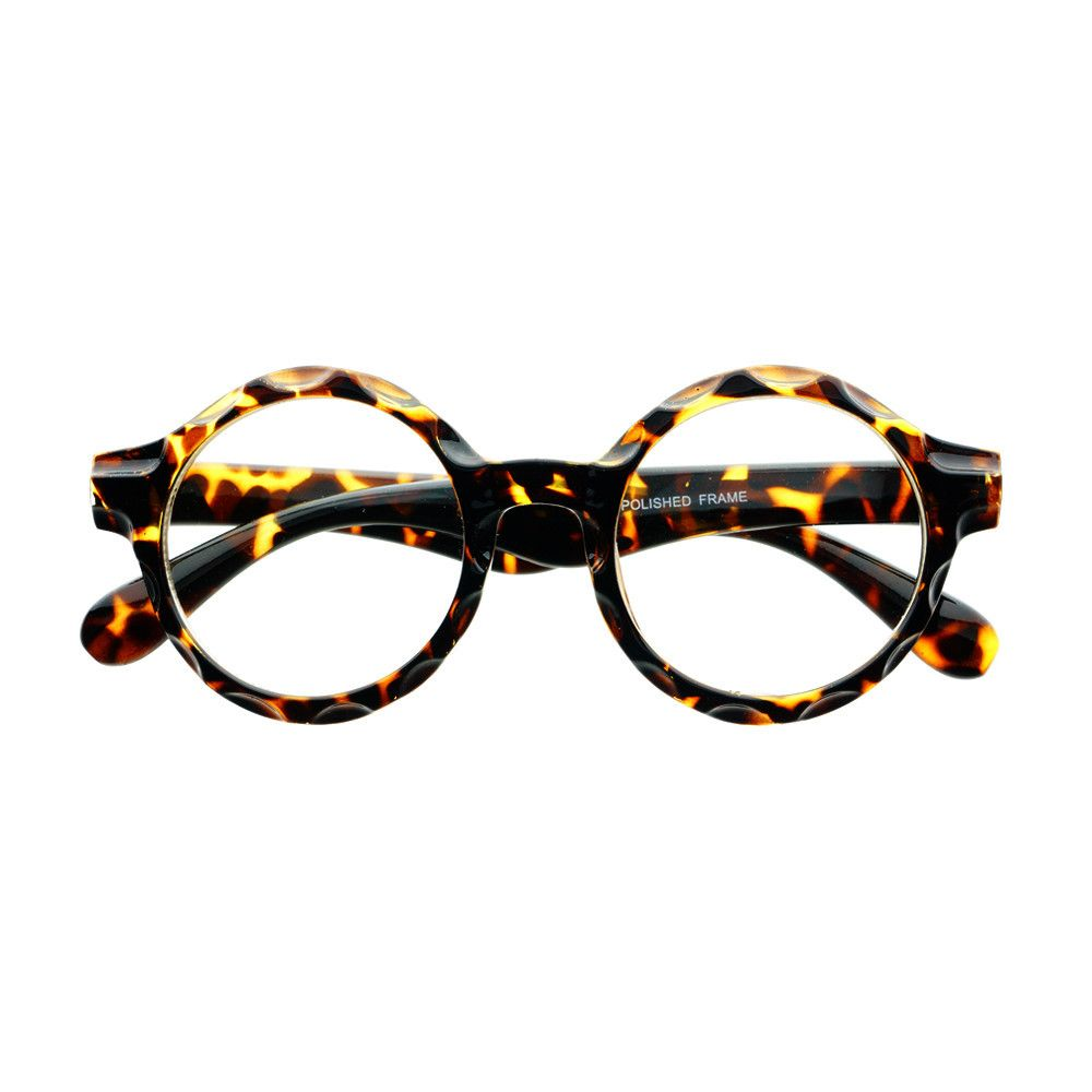 Funky pair of large round eyeglasses with unique detailed frame and clear lenses Sunglasses dimensions: Frame Height: 55mm Frame Width: 140mm