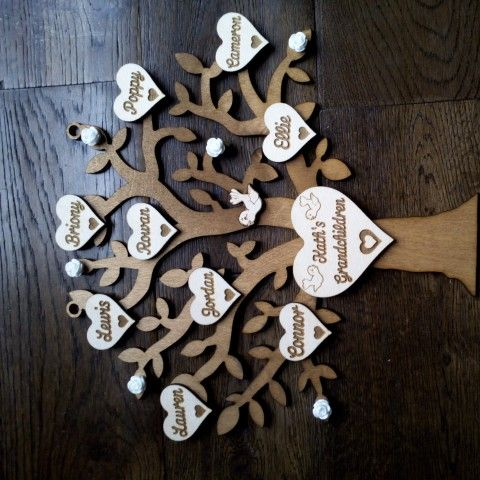 Mothers Day Family Tree Made From Wood Laser Cut From Www