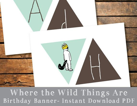 Where the Wild Things Are Happy Birthday Pennant Banner
