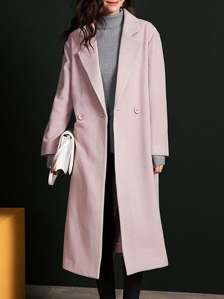 Shop Coats - Naked Pink Lapel Wool Blend Long Sleeve Coat online. Discover unique designers fashion at StyleWe.com.
