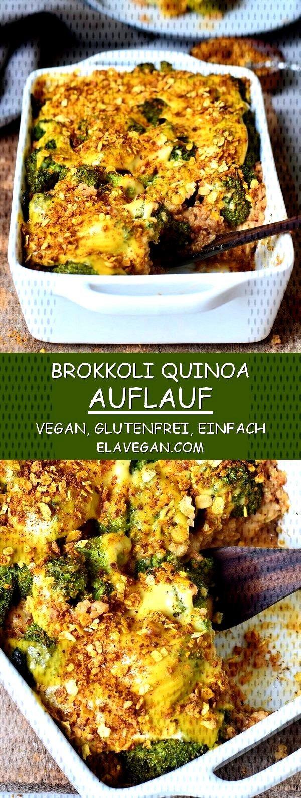 Broccoli bake (gratin) with quinoa and vegan cheese - Elavegan - Healthy broccoli quinoa casserole