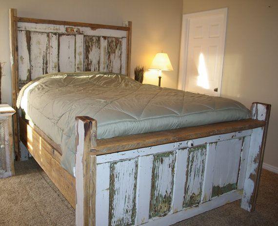 Vintage Door Bed Headboard Footboard And Siderails By Foo Foo La La Headboard From Old Door Rustic Headboard Diy