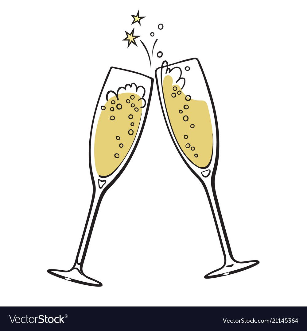 Two glasses of champagne vector image on Картинки, Открытки