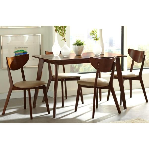 Discounted Dining Sets: Peony Retro Walnut And Leatherette 5-piece Dining Set