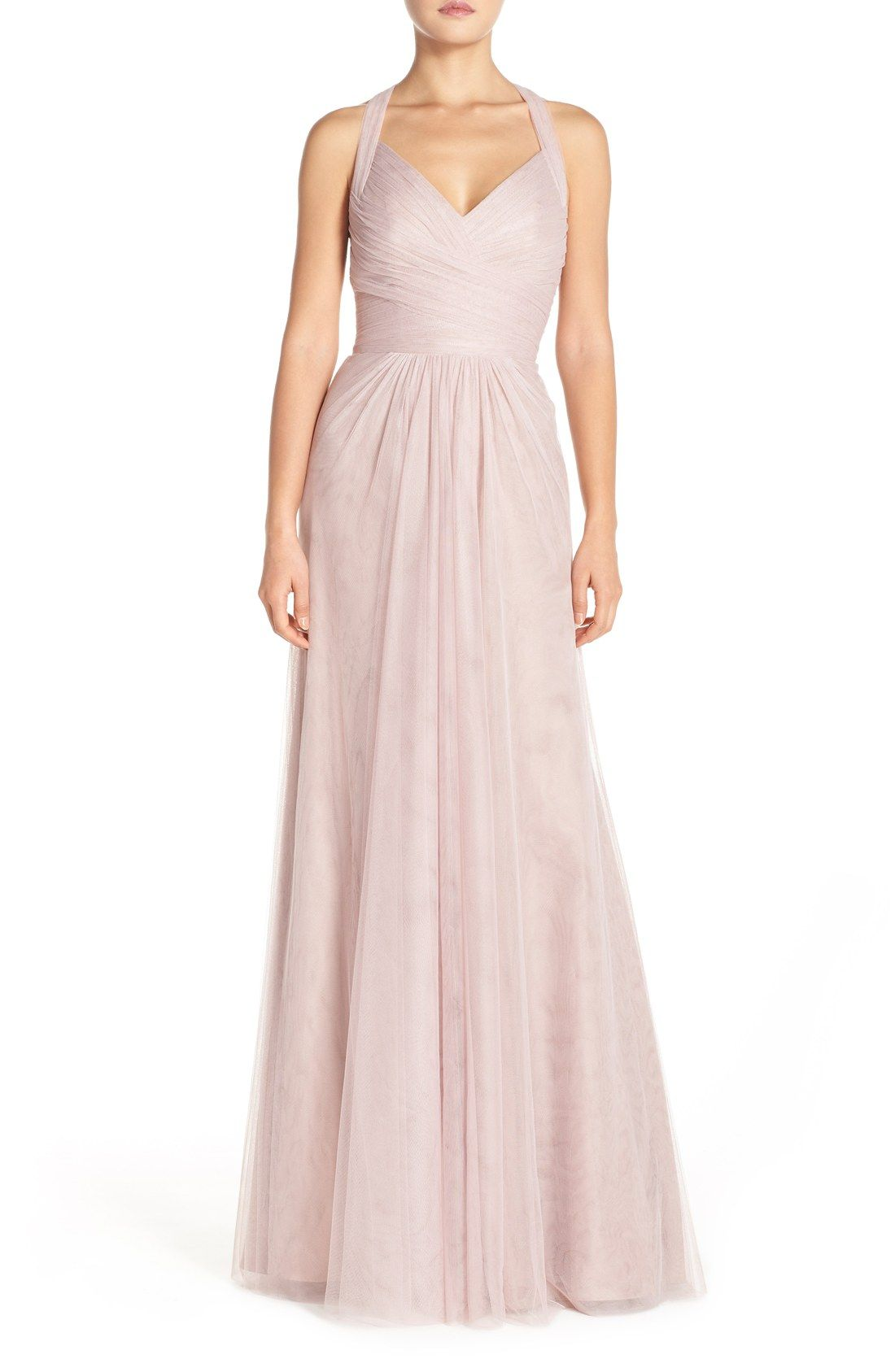 Cerise pink bridesmaid dress  New Monique Lhuillier Bridesmaids Sleeveless VNeck Tulle Gown