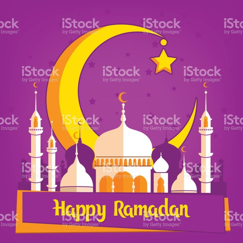Greeting Card Template For Muslim Holiday With Flat Islamic Mosque