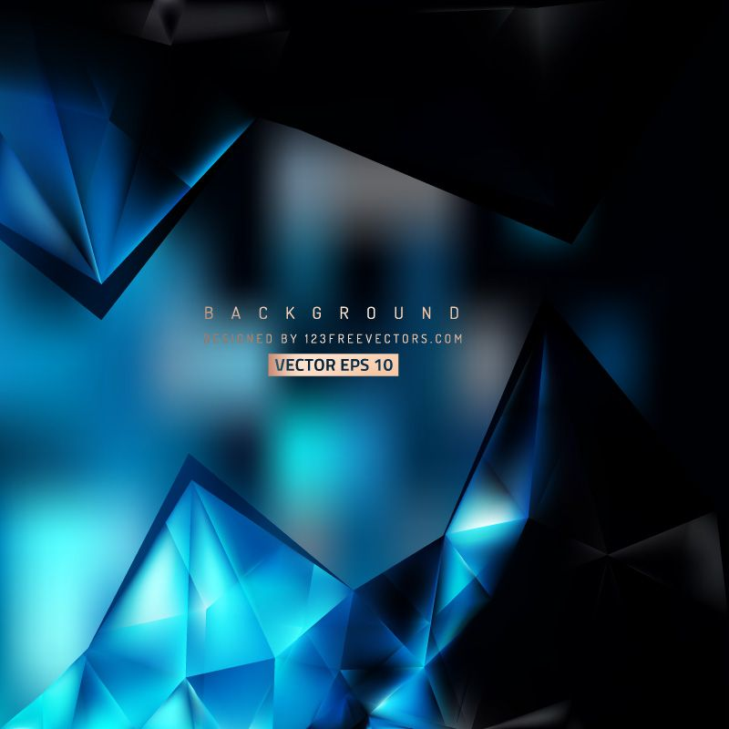 Abstract Blue Black Polygonal Triangular Background Template