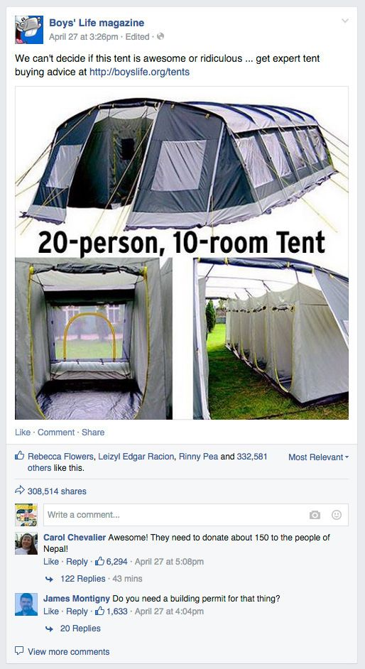 Boys Life Post About 20 Person 10 Room Tent Goes Viral Tent 20 Person Tent Cool Tents