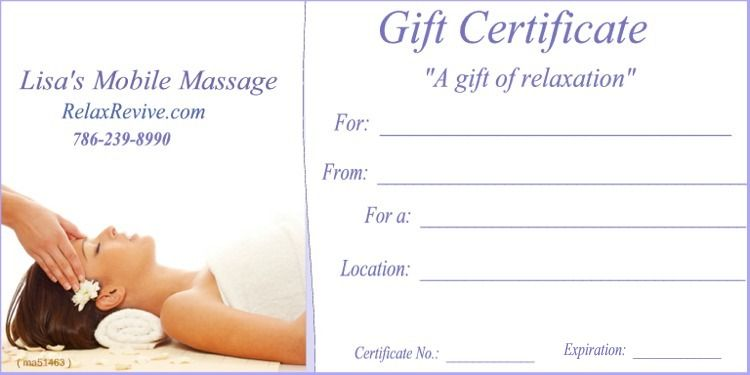 Massage Gift Certificate Template Gift Certificates Are A Great G - Massage gift certificate templates