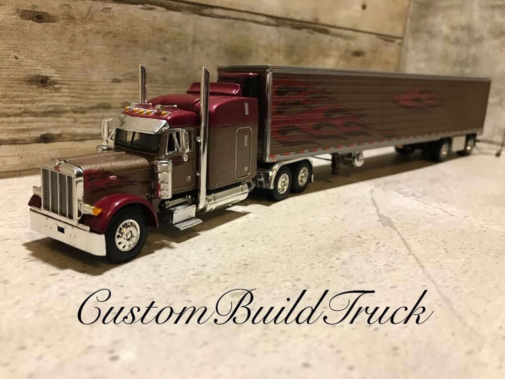 Dcp Peterbilt 379 Rare W Reefer Trailer Burgundy Flames 1 64 Peterbilt Peterbilt 379 Peterbilt Toy Trucks