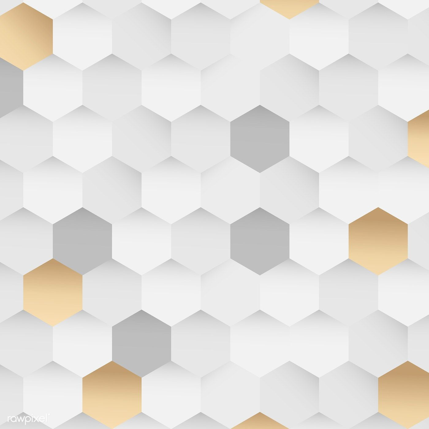 Download Premium Illustration Of White And Gold Hexagon Pattern