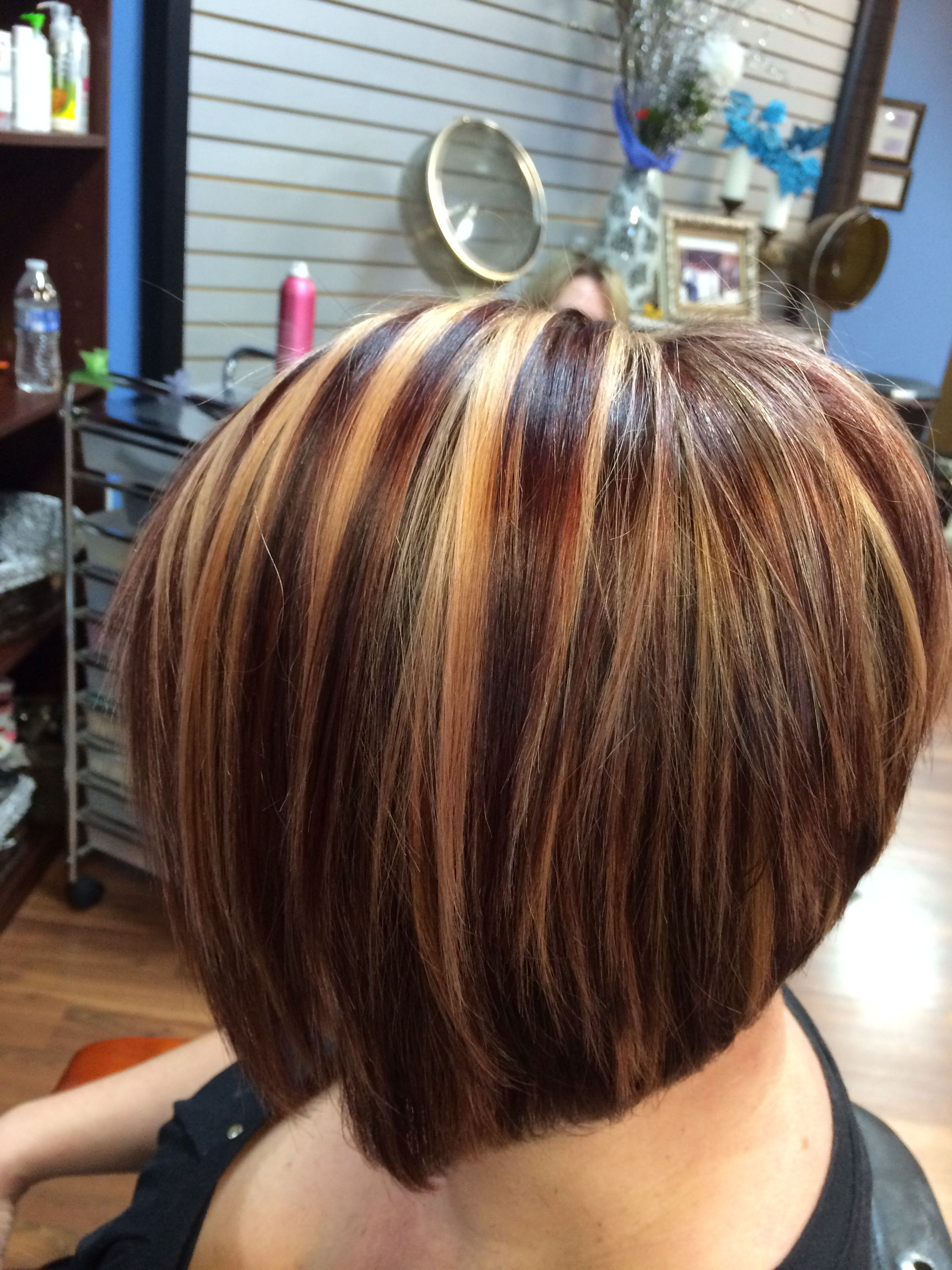 Dark red blond chunky highlights and lowlightsazra hair in